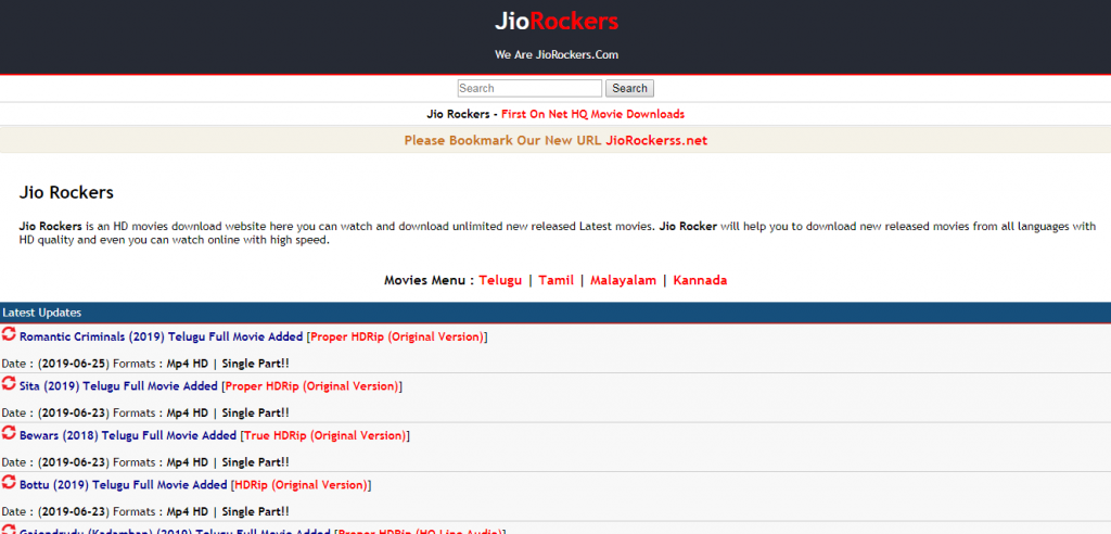 Jio Rockers 2019 Telugu, Tamil, Kannada, Bollywood Movies